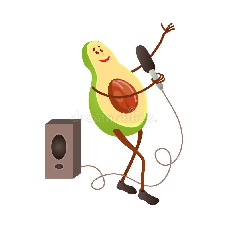 Caráter bonito do abacate do canto com microfone e o orador grande ilustração stock