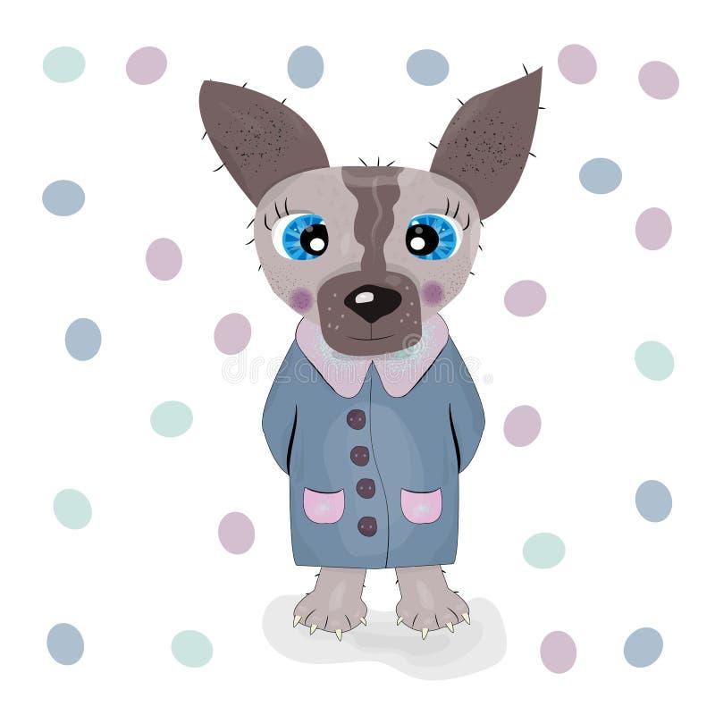 Caráter bonito do cão dos desenhos animados ilustração stock