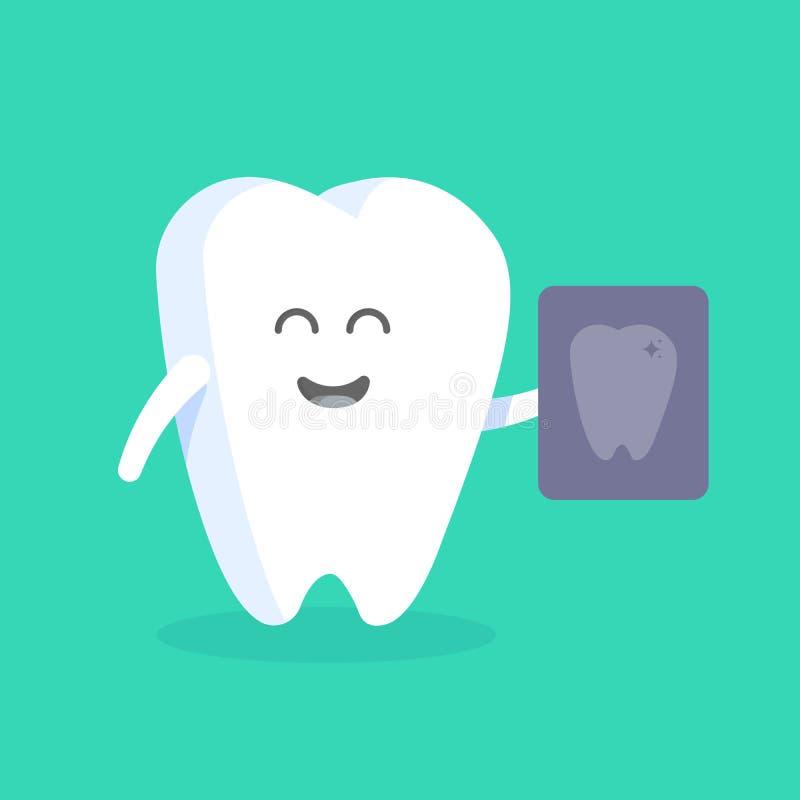 Caráter bonito do dente dos desenhos animados com cara, olhos e mãos O conceito para o personagem das clínicas, dentistas, cartaz ilustração royalty free