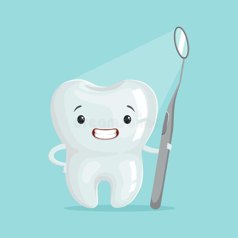Caráter bonito do dente dos desenhos animados com ferramenta dental, ilustração do vetor do conceito da odontologia de crianças ilustração do vetor