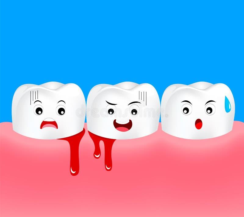 Caráter bonito do dente dos desenhos animados com problema da goma ilustração royalty free
