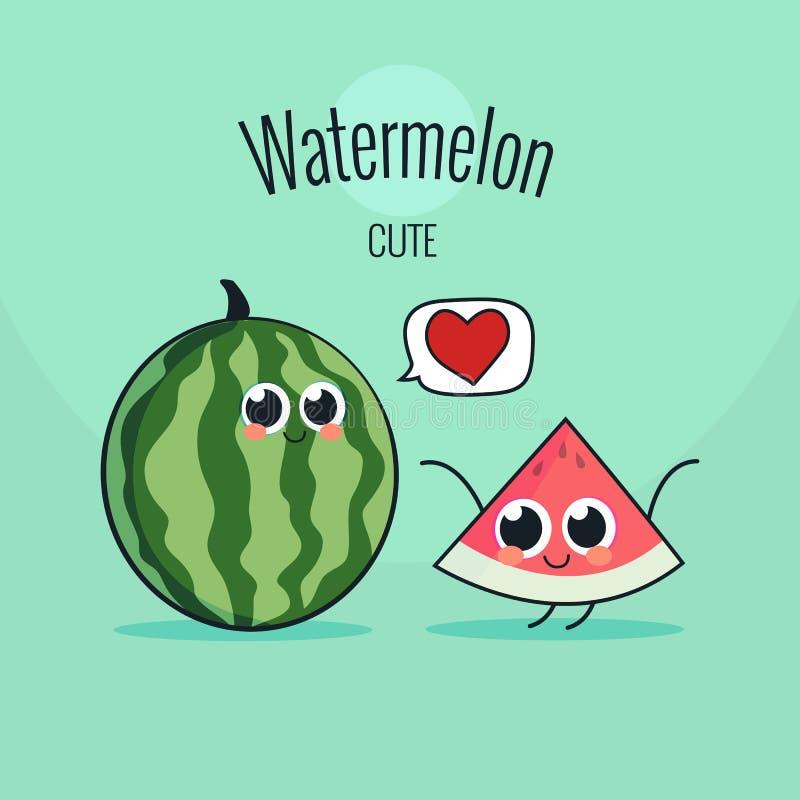 Caráter bonito do fruto da melancia Ilustração do vetor do vintage dos desenhos animados ilustração do vetor