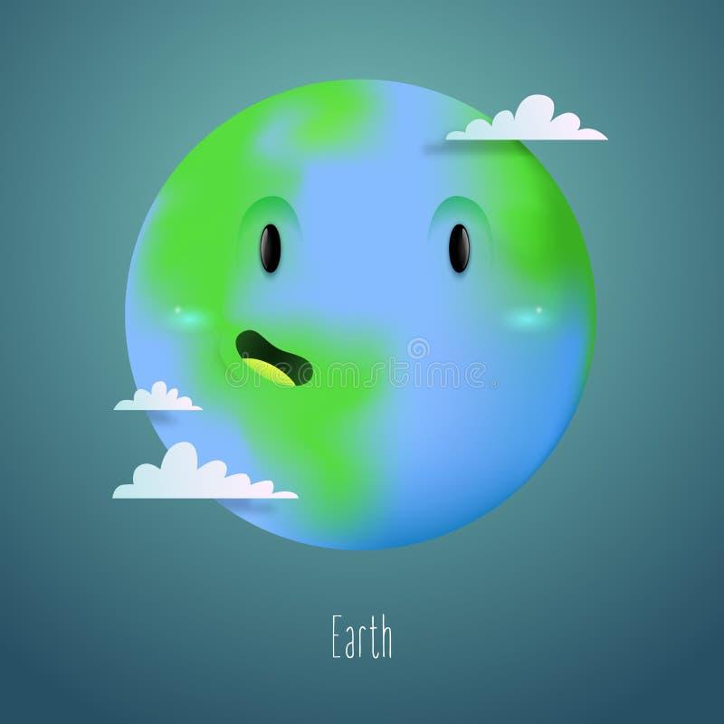 Caráter bonito do planeta da terra no espaço com nuvens como uma parte do sistema solar para bandeiras da educação ou da ecol ilustração do vetor