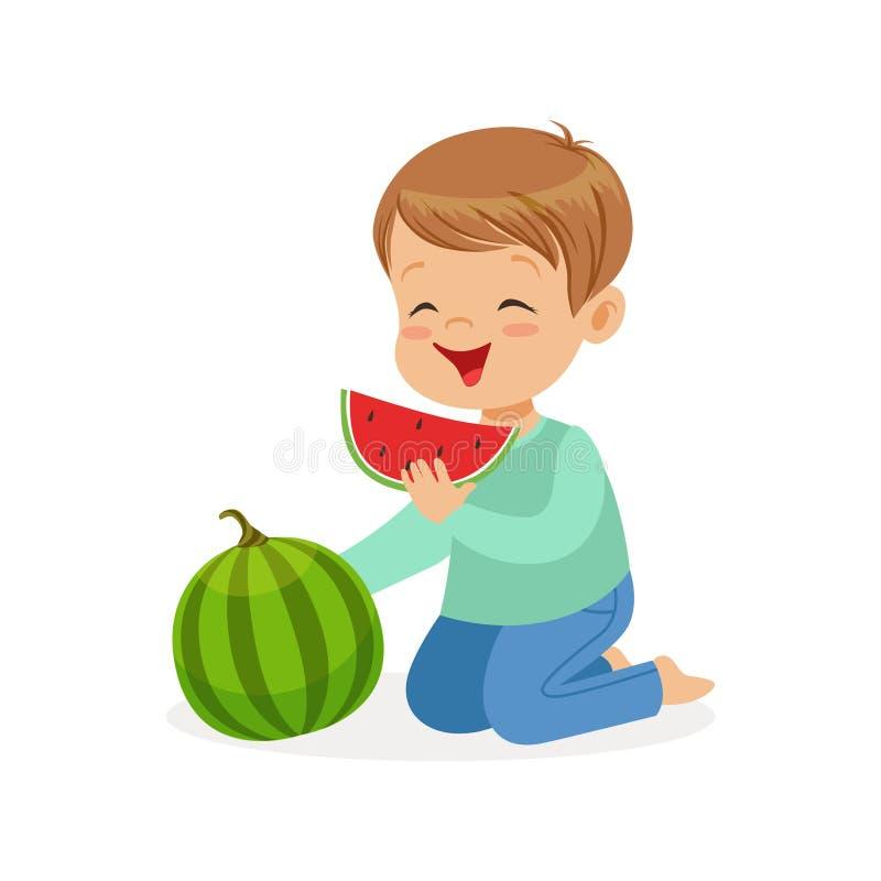 Caráter bonito do rapaz pequeno que aprecia comendo a ilustração do vetor dos desenhos animados da melancia ilustração royalty free