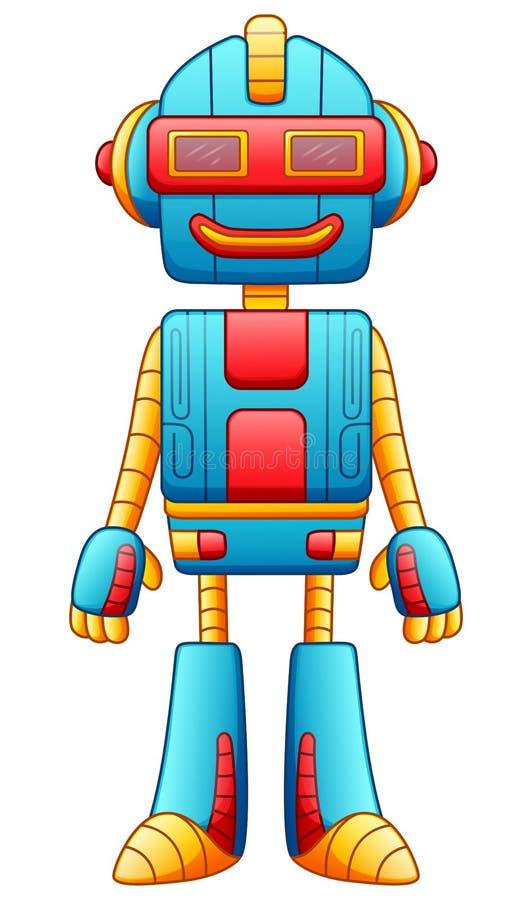 Caráter bonito do robô dos desenhos animados isolado no fundo branco ilustração stock
