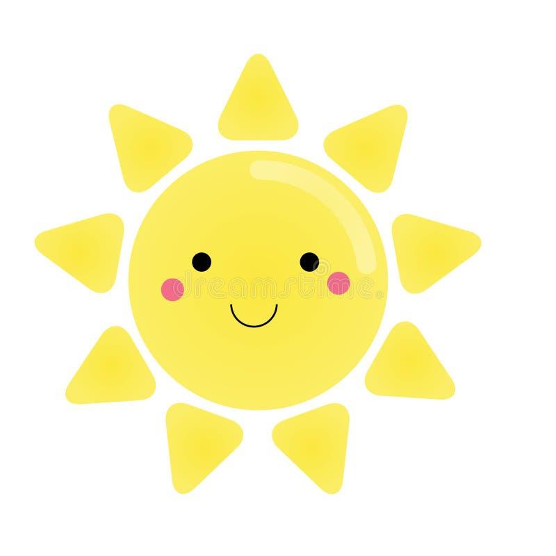 Caráter bonito do sol do kawaii Ilustração para crianças, elemento do vetor do projeto ilustração royalty free