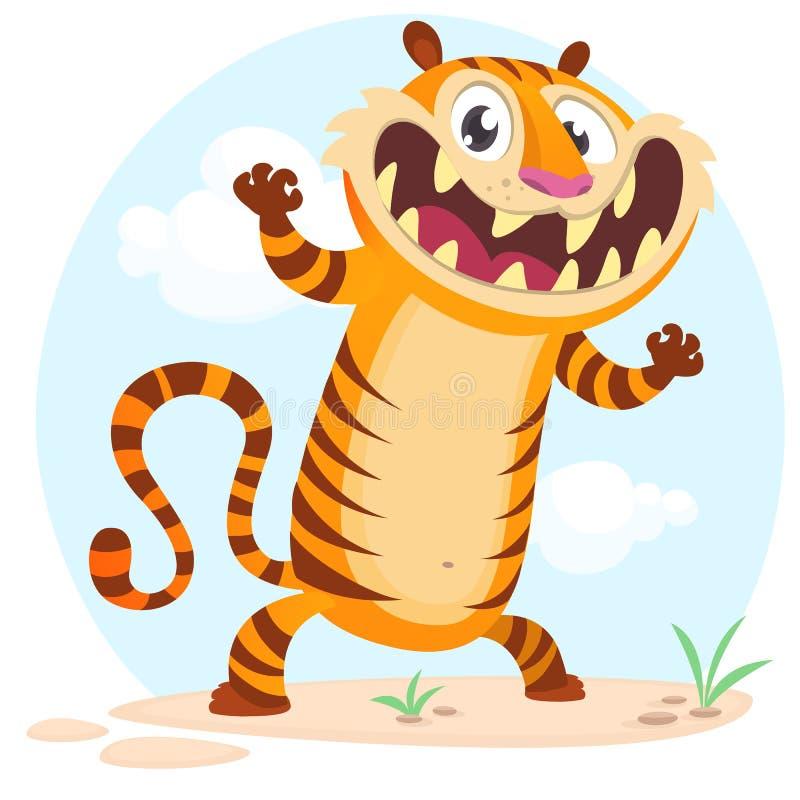 Caráter bonito do tigre dos desenhos animados Ilustração do vetor no fundo simples da natureza ilustração royalty free