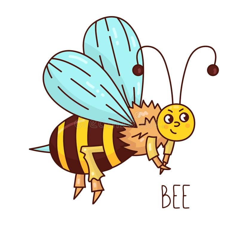 Caráter bonito do vetor de inseto da abelha ilustração do vetor