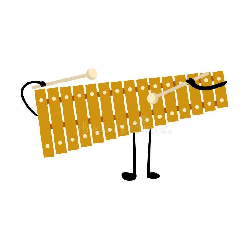 Caráter bonito do xilofone do metal do ouro com mãos e pé ilustração royalty free