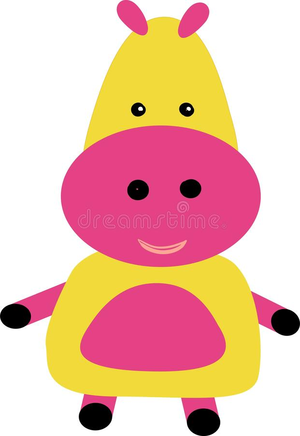 Caráter bonito e adorável do hipopótamo Cart?o do chuveiro de beb? Hippopotamus ilustração do vetor