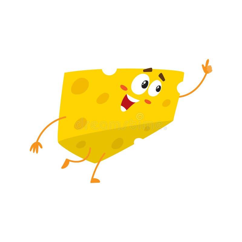 Caráter bonito e engraçado do pedaço do queijo que aponta acima com seu dedo ilustração royalty free