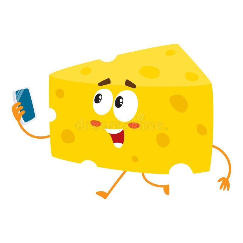 Caráter bonito e engraçado do pedaço do queijo que guarda o smartphone ilustração royalty free