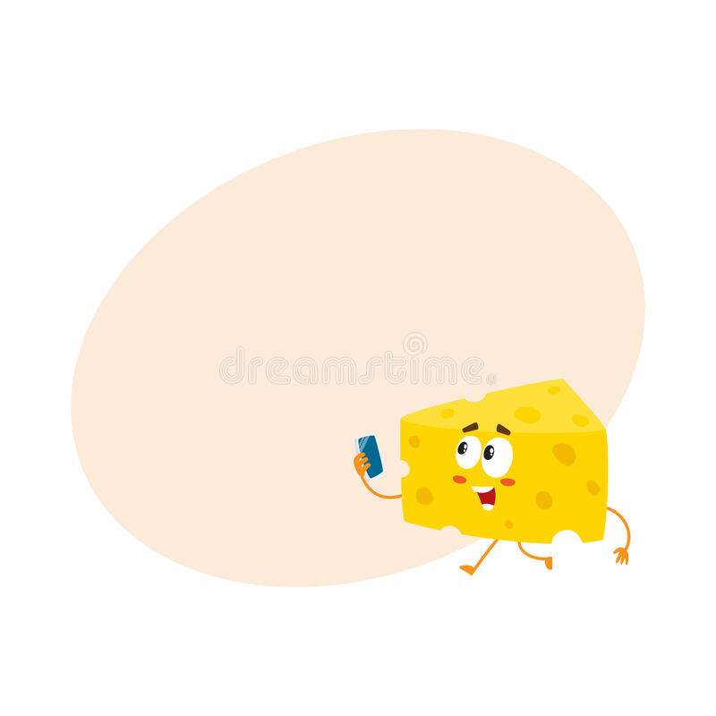 Caráter bonito e engraçado do pedaço do queijo que guarda o smartphone ilustração stock