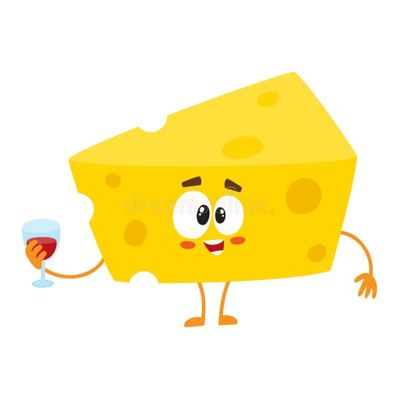Caráter bonito e engraçado do pedaço do queijo que guarda o vidro do vinho ilustração do vetor