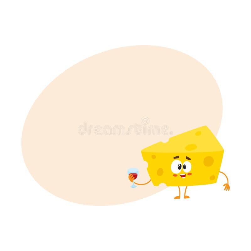 Caráter bonito e engraçado do pedaço do queijo que guarda o vidro do vinho ilustração royalty free