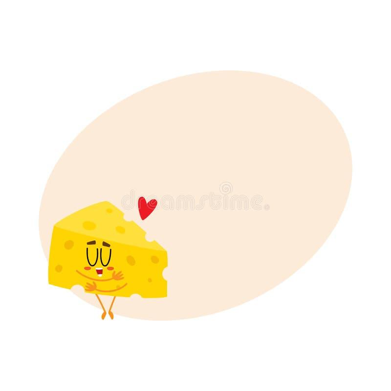Caráter bonito e engraçado do pedaço do queijo que mostra o amor, abraçando-se ilustração do vetor