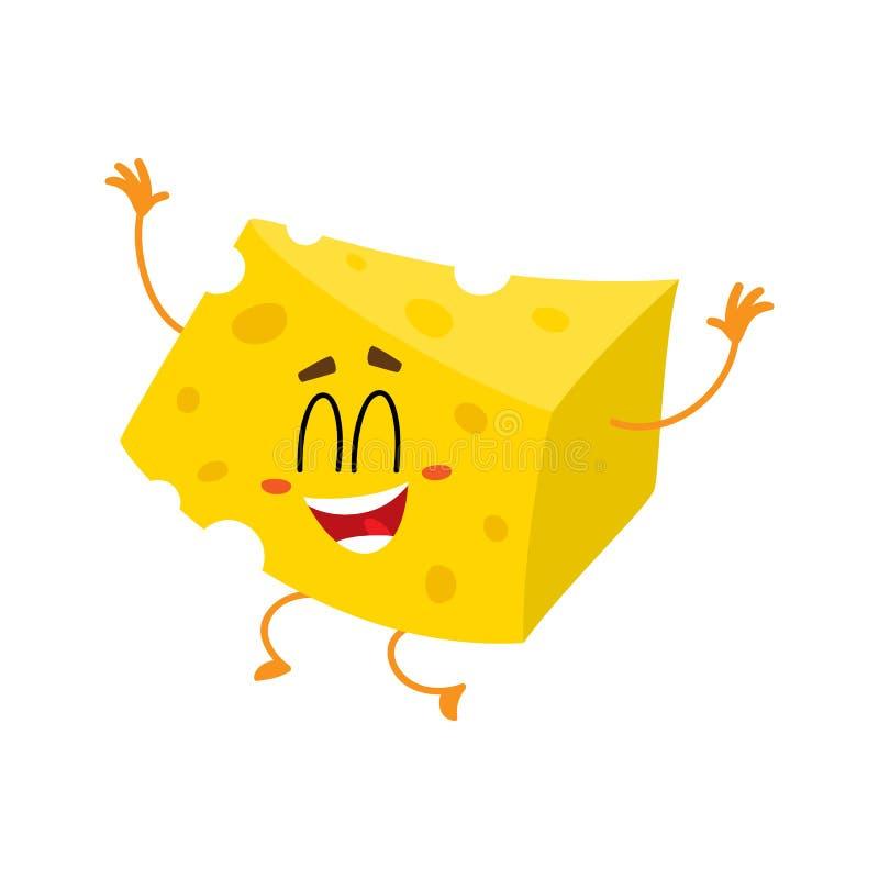 Caráter bonito e engraçado do pedaço do queijo que salta da felicidade ilustração royalty free