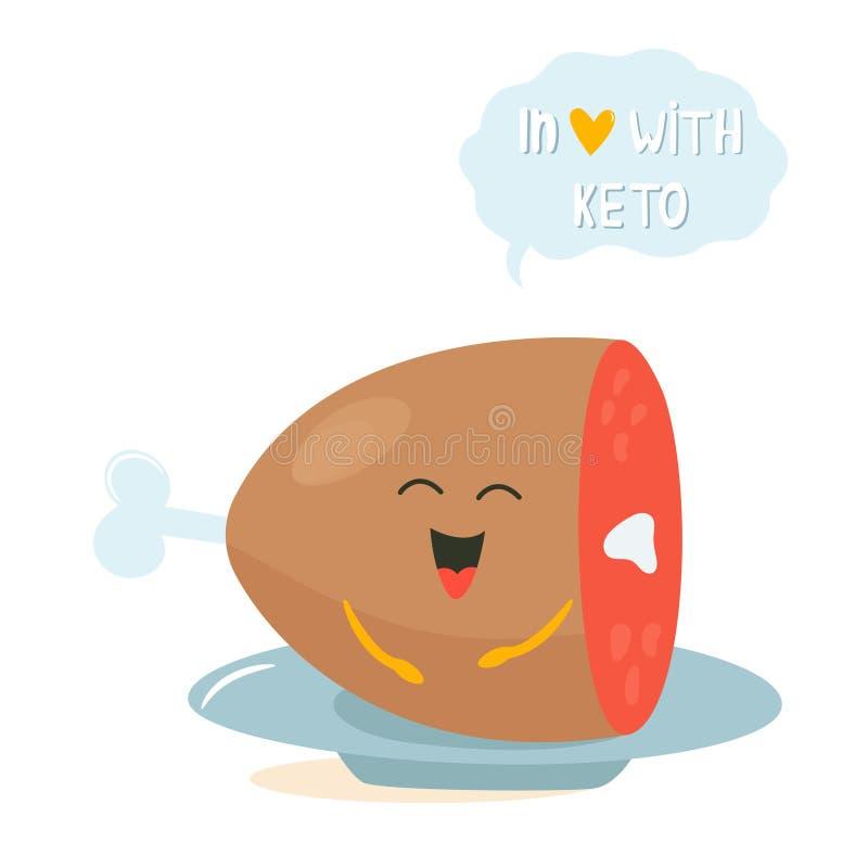 Caráter bonito engraçado da carne, amante da dieta do keto ilustração stock