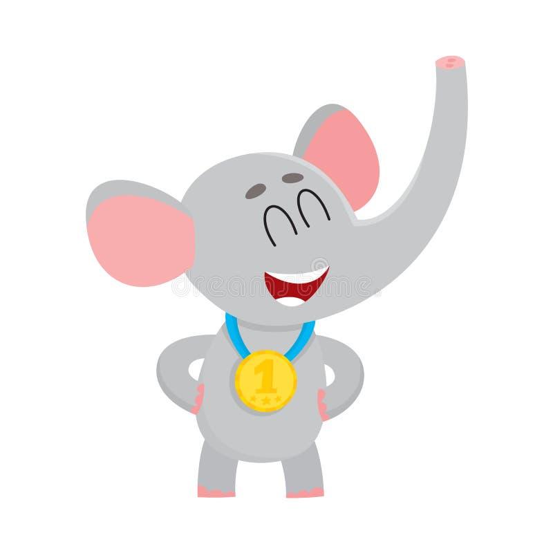 Caráter bonito, orgulhoso do elefante, campeão que veste a medalha dourada do vencedor ilustração stock