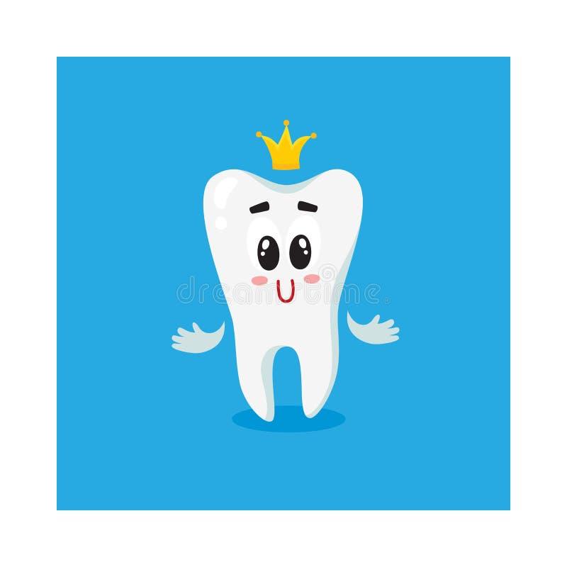 Caráter branco brilhante bonito e feliz do dente com coroa dourada ilustração stock