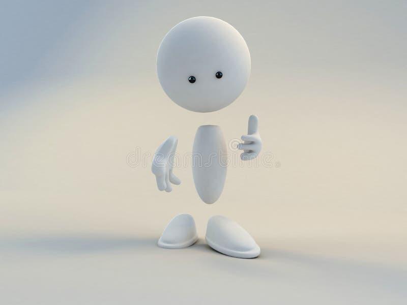 Caráter branco com mão acima ilustração stock