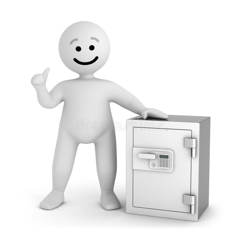 Caráter branco do sorriso com cofre forte ilustração do vetor