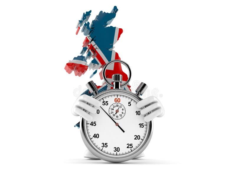 Caráter BRITÂNICO com cronômetro ilustração royalty free