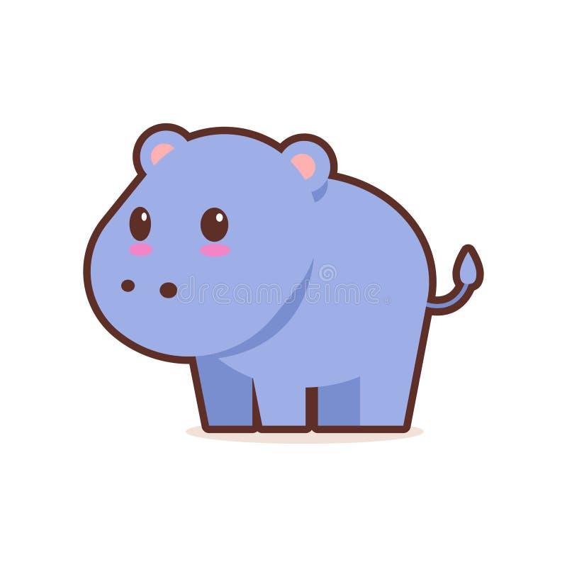 Caráter cômico dos desenhos animados azuis bonitos do hipopótamo com do estilo feliz do kawaii do anime do emoji da cara os anima ilustração stock