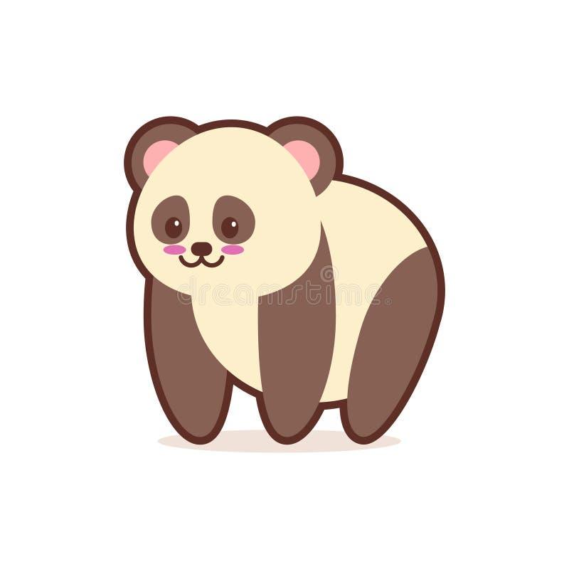 Caráter cômico dos desenhos animados bonitos da panda com do estilo feliz do kawaii do anime do emoji da cara os animais engraçad ilustração stock