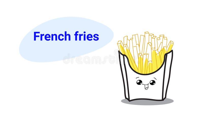 Caráter cômico dos desenhos animados livres bonitos das batatas fritas da batata quente com estilo tirado de sorriso do kawaii do ilustração royalty free