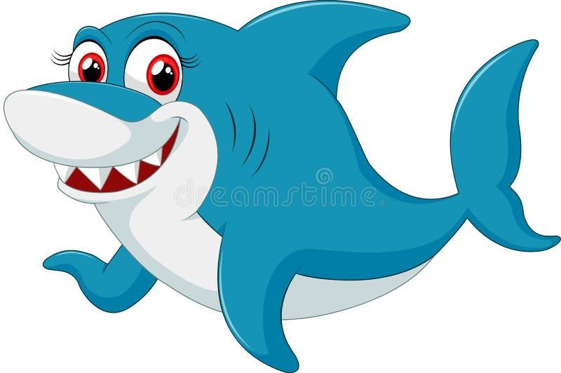 Caráter cômico do tubarão no fundo branco ilustração royalty free