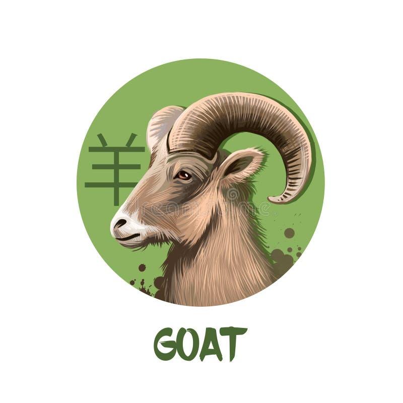 Caráter chinês do horóscopo da cabra isolado no fundo branco Símbolo do ano novo 2027 Ram ou carneiros animais no círculo redondo ilustração royalty free