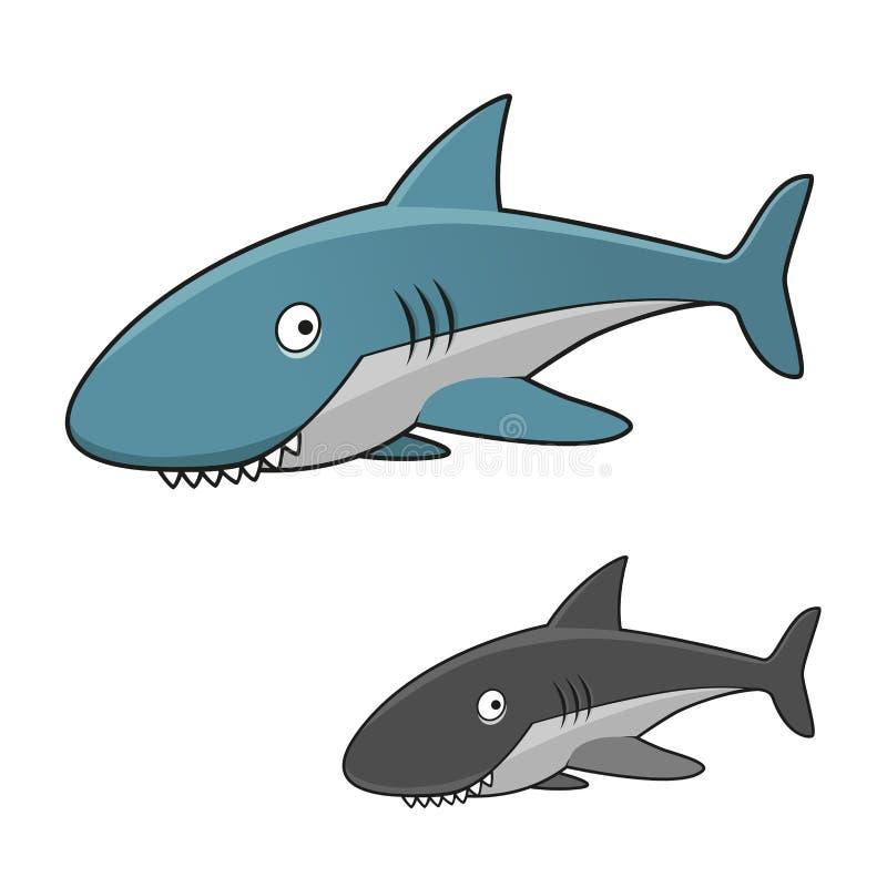 Caráter cinzento toothy do tubarão dos desenhos animados ilustração royalty free