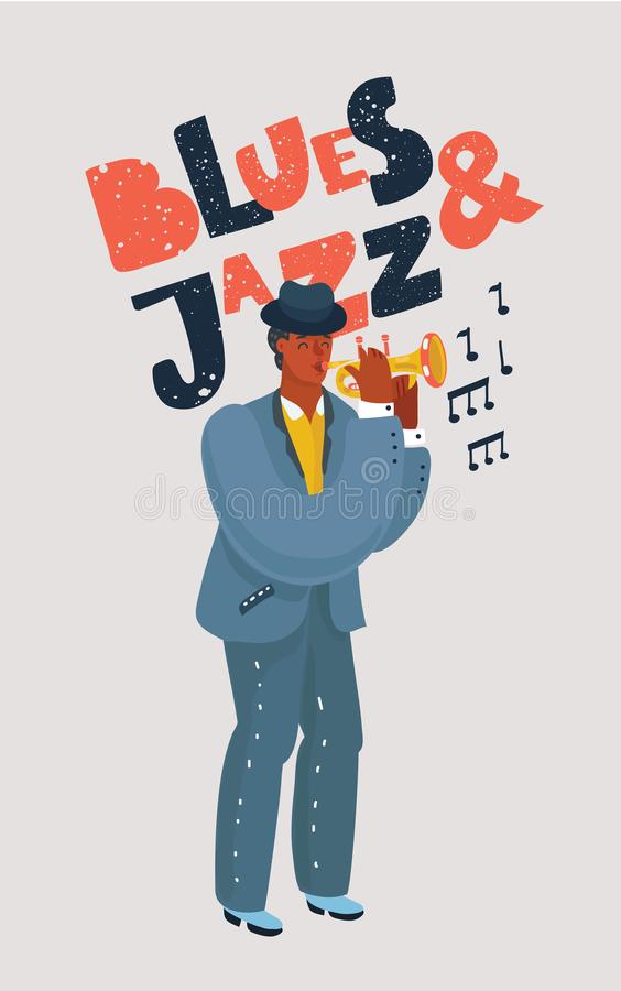 Caráter colorido da trompetista ilustração royalty free