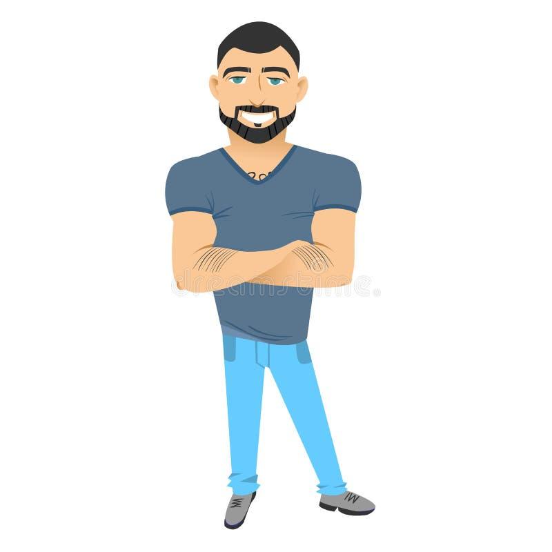 Caráter com barba homem liso do moderno com barba ilustração stock