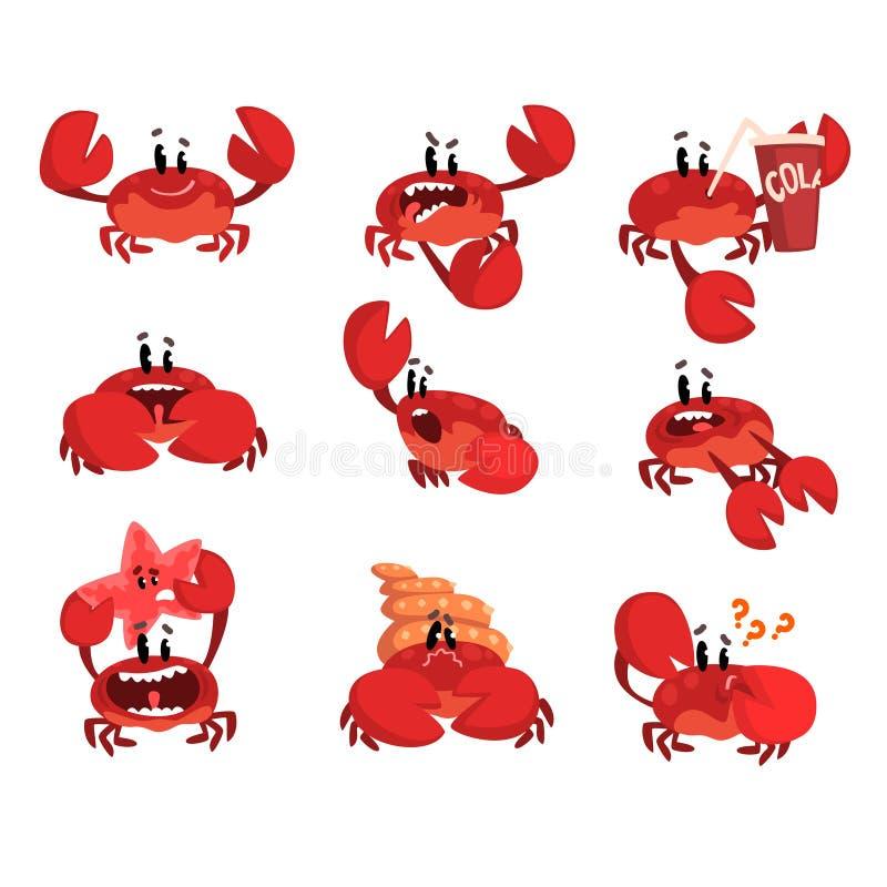 Caráter com emoções diferentes, criatura bonito do caranguejo do mar com ilustração engraçada do vetor da cara em um fundo branco ilustração stock