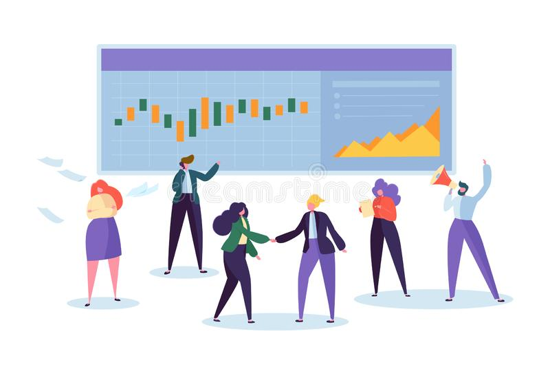 Caráter conservado em estoque de comércio em linha de Analisys da carta Diagrama de Sell Business Signal Kpi do comerciante Moeda ilustração stock