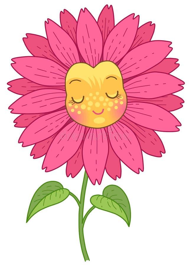 Caráter cor-de-rosa da flor ilustração royalty free
