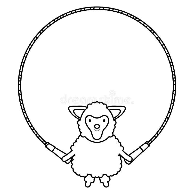 Caráter criançola da corda bonito do jumpin dos carneiros ilustração stock