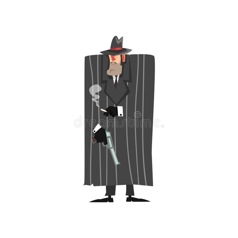Caráter criminoso do gângster no revestimento preto e no chapéu do fedora que estão com arma e ilustração de fumo do vetor em um  ilustração stock