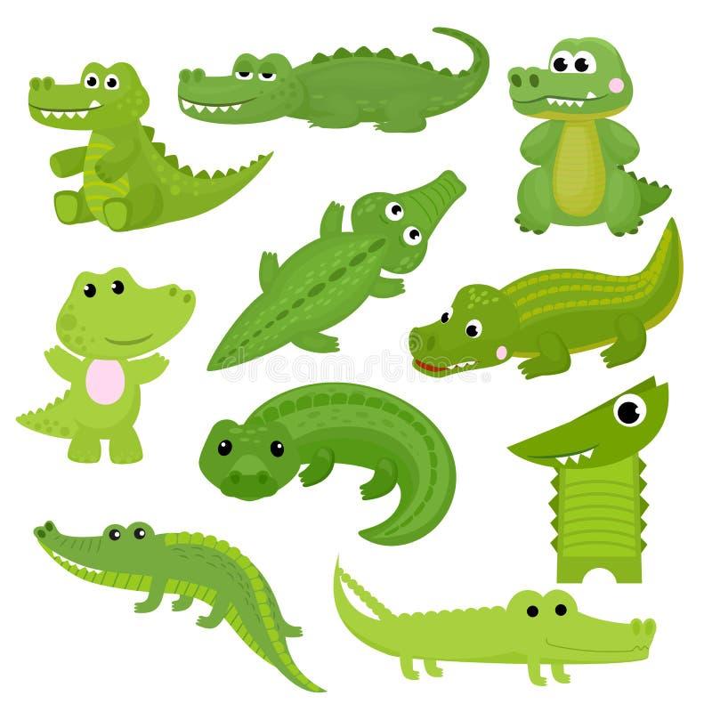 Caráter crocodilian dos desenhos animados do vetor do crocodilo do jacaré verde que joga na ilustração da sala de jogos das crian ilustração stock