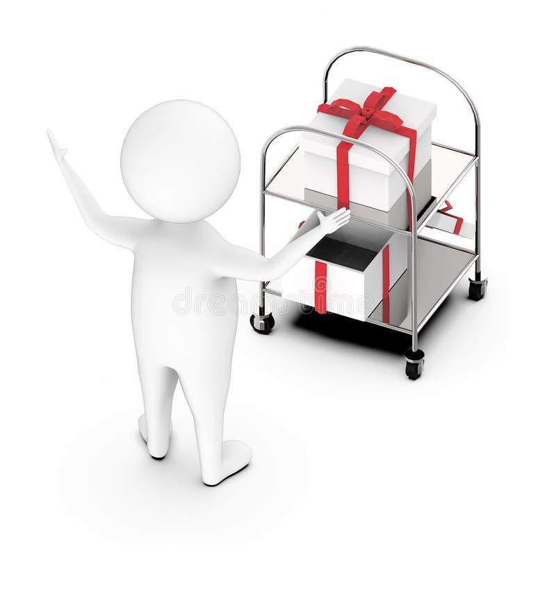 caráter 3d branco excitado ao estar próximo às caixas de presente ilustração do vetor