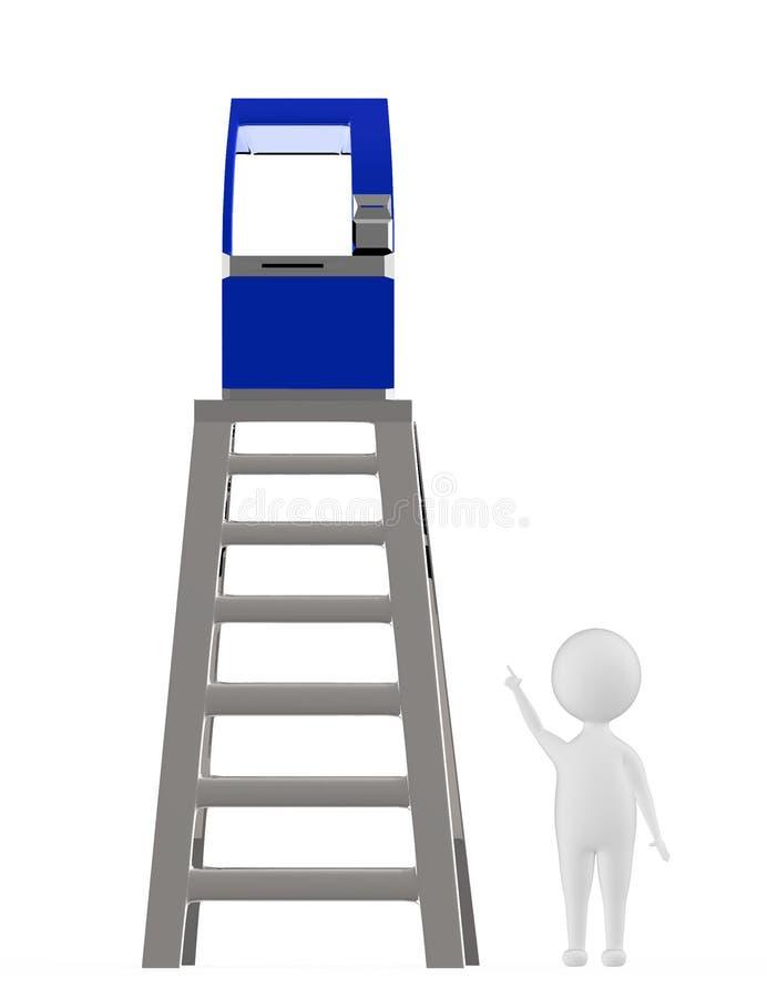 caráter 3d branco que aponta as mãos para cima para uma máquina do atm que esteja sobre uma parte superior do conceito da escada ilustração stock