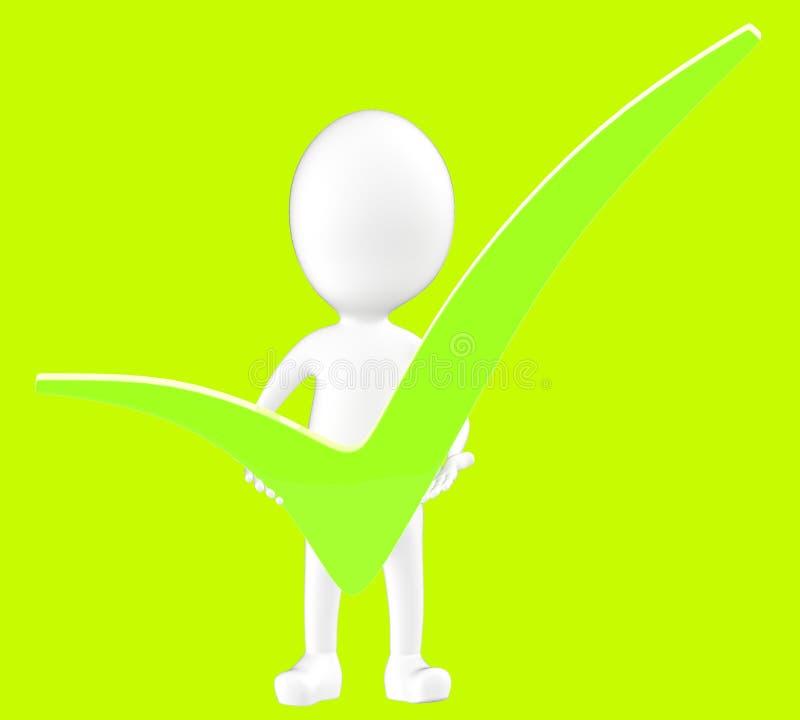 caráter 3d branco que guarda um tiquetaque verde em suas mãos ilustração do vetor