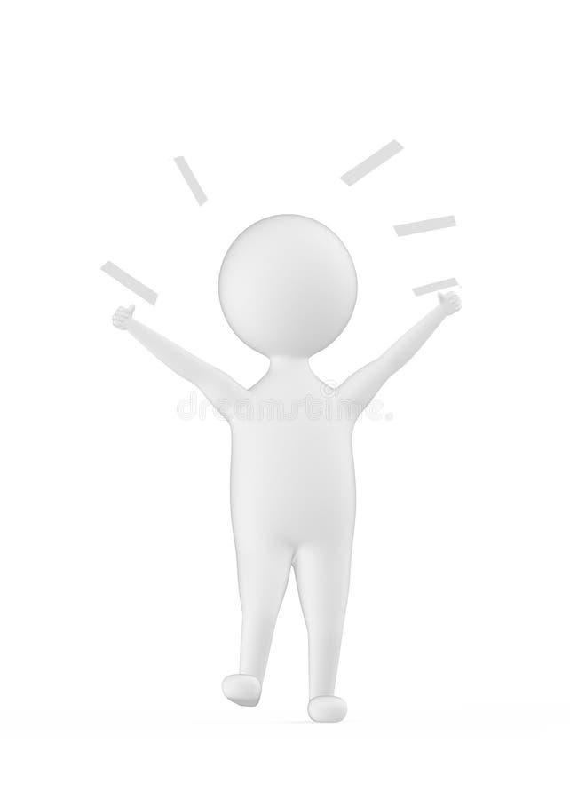 caráter 3d branco que mostra a felicidade/excitamento/alegria ilustração stock