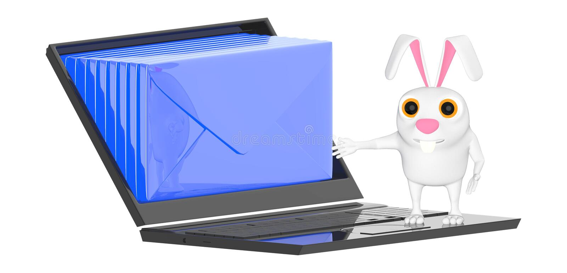 caráter 3d, coelho, portátil e envelopes dentro da tela ilustração stock