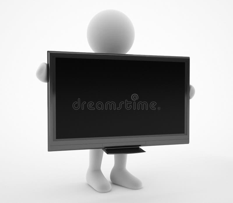 caráter 3d com a televisão da tela vazia ilustração stock