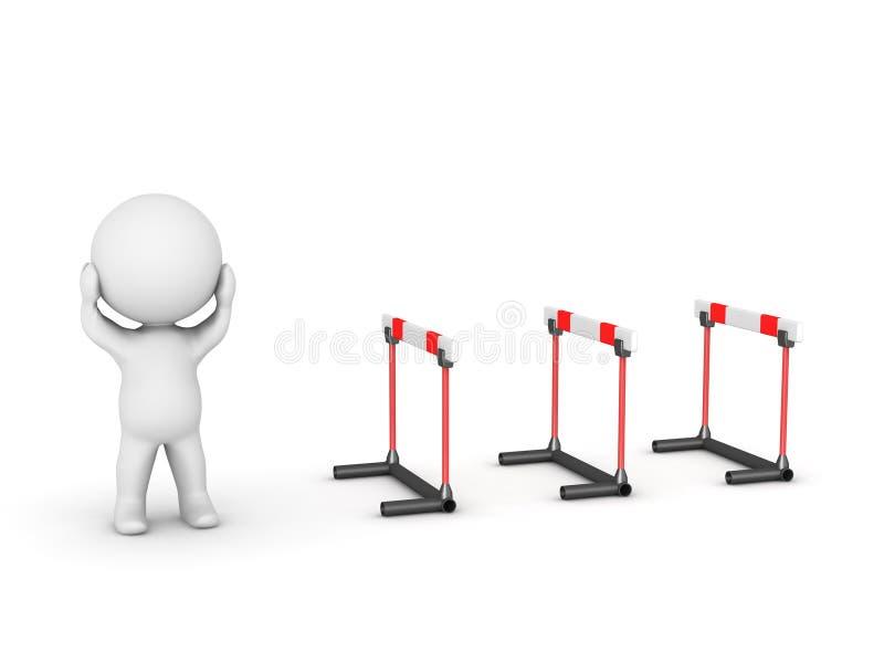 caráter 3D forçado sobre obstáculos ilustração stock
