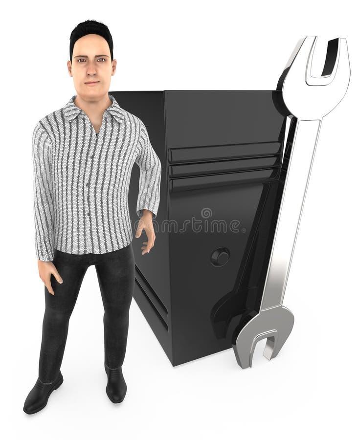 caráter 3d, homem que estão próximo a uma chave e um processador central, técnico, reparo ilustração do vetor