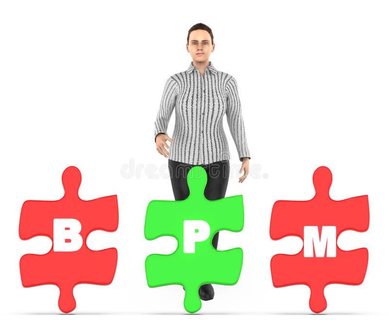 caráter 3d, mulher e três deles que guardam cada serra de vaivém com alfabetos b da letra, p e m nele - conceito do bpm ilustração do vetor